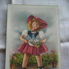 Postales: BONITA POSTAL INFANTIL DE NIÑA CON FLORES C Y Z. AÑOS 50 - SIN CIRCULAR. Lote 62377716