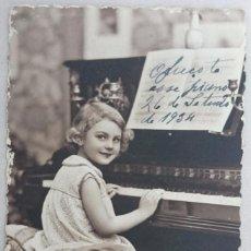 Postales: POSTAL ANTIGUA COLOREADA. NIÑA AL PIANO. PC PARÍS Nº 3596. PRINCIPIOS SIGLO XX. Lote 62394652