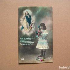Postales: NIÑO,ANTIGUA POSTAL COLOREADA CON ORACION, AÑOS 30. Lote 62426764