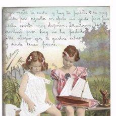 Postales: ANTIGUA POSTAL CIRCULADA 1903 - REVERSO SIN DIVIDIR - ED. E.S.D. SERIE 730 - NIÑAS. Lote 70178413