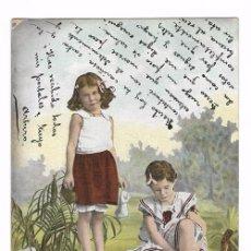Postales: ANTIGUA POSTAL CIRCULADA 1903 - REVERSO SIN DIVIDIR - ED. E.S.D. SERIE 730 - NIÑAS. Lote 70178445