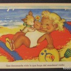 Postales: NIÑA CON PERRO EN LA PLAYA - EDICIONES GLORIA MILL - SERIE 100-3. Lote 71634671