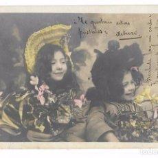 Postales: ANTIGUA POSTAL E.P. - E. P. - NIÑAS CON GORRO Y FLORES - CIRCULADA 1904 - REVERSO SIN DIVIDIR. Lote 73937083