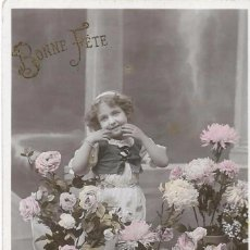 Postales: *** AN30 - ANTIGUA POSTAL - BONITA NIÑA ENTRE FLORES - BONNE FÉTE. Lote 75945315