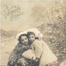Postales: ** AN35 - ANTIGUA POSTAL COLOREADA - DOS BONITAS NIÑITAS BONNE ANNÉE - 1911. Lote 75946939