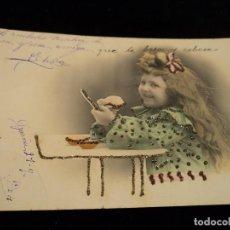 Postales: ANTIGUA POSTAL CON INCRUSTACIONES DE BISUTERIA, CIRCULADA 1904 SELLO ALF. 13. Lote 80277117