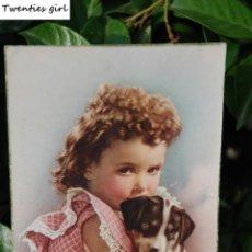 Postales: ANTIGUA POSTAL DE NIÑA CON CACHORRO AÑOS 50. Lote 61453959