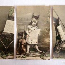 Postales: SERIE 3 POSTALES, NIÑA CON VIOLIN, AÑO 1912. Lote 88333748