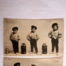 Postales: 2 POSTALES, NIÑOS DE MADRID, VESTIDOS DE CHULAPOS CON BARQUILLERA, CIRCULADA AÑO 1907. Lote 88803472