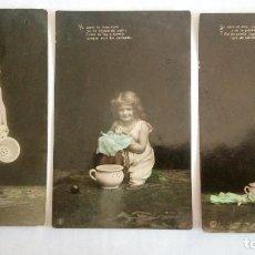 Postales: SERIE DE 5 POSTALES, NIÑA JUGANDO CON PELOTA , MUÑECA Y ORINAL, CIRCULADA, AÑO 1907. Lote 88872516