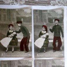 Postales: SERIE 4 POSTALES, MILITAR Y DONCELLA PELANDO LA PABA, COLOREADA, AÑO 1906. Lote 88872696