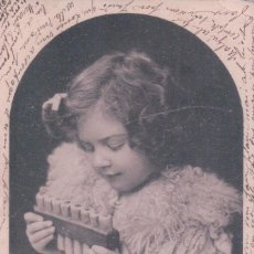 Postales: POSTAL NIÑA TOCANDO ARMONICA - CIRCULADA 1903 - P.P.C. Lote 90346224