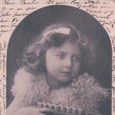 Postales: POSTAL NIÑA TOCANDO ARMONICA - CIRCULADA 1903 - P.P.C. Lote 90346320