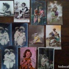 Postales: LOTE DE 11 POSTALES ANTIGUAS DE NIÑOS.. Lote 91602870