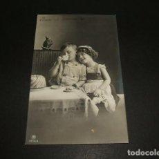 Postales: NIÑOS TOMANDO EL TE POSTAL . Lote 93941130