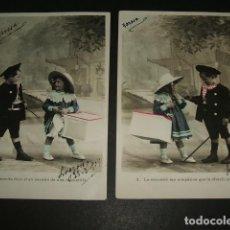 Postales: COLECCION 5 POSTALES NIÑOS MODISTILLA 1909. Lote 93949430