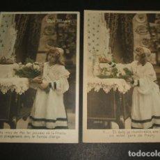 Postales: COLECCION 5 POSTALES NIÑA REZO AVE MARIA 1905. Lote 93949540