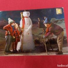Postales: BONITA POSTAL. NIÑOS HACIENDO FOTO CON MUÑECO DE NIEVE. SERIE L. Nº 14. ESCUDO DE ORO. . Lote 95910331