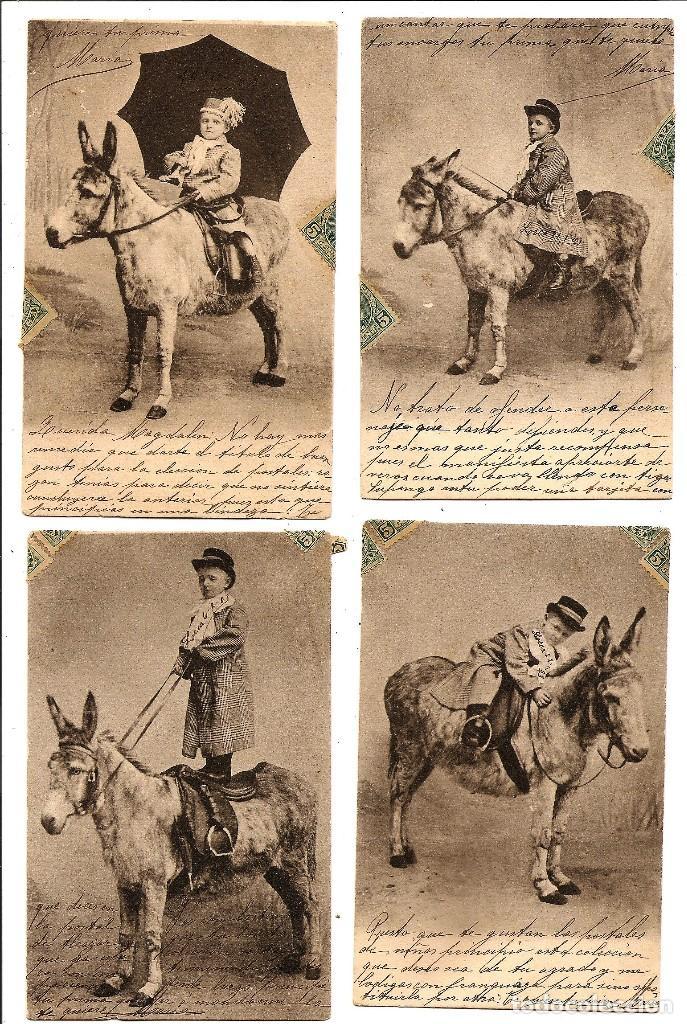 CONJUNTO DE 4 POSTALES NIÑO CON BURRO CIRCULADAS AÑO 1903 - ALFONSO XIII (Postales - Postales Temáticas - Niños)