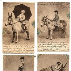 Postales: CONJUNTO DE 4 POSTALES NIÑO CON BURRO CIRCULADAS AÑO 1903 - ALFONSO XIII. Lote 96785827