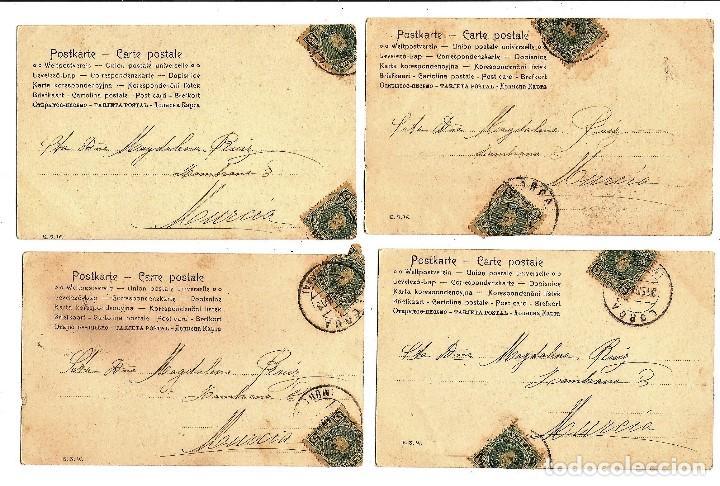 Postales: CONJUNTO DE 4 POSTALES NIÑO CON BURRO CIRCULADAS AÑO 1903 - ALFONSO XIII - Foto 2 - 96785827