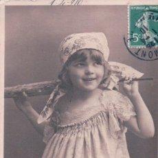 Postales: POSTAL NIÑA - VESTIDO - PARAGUAS - CINTA PELO - CIRCULADA 1910. Lote 99830315