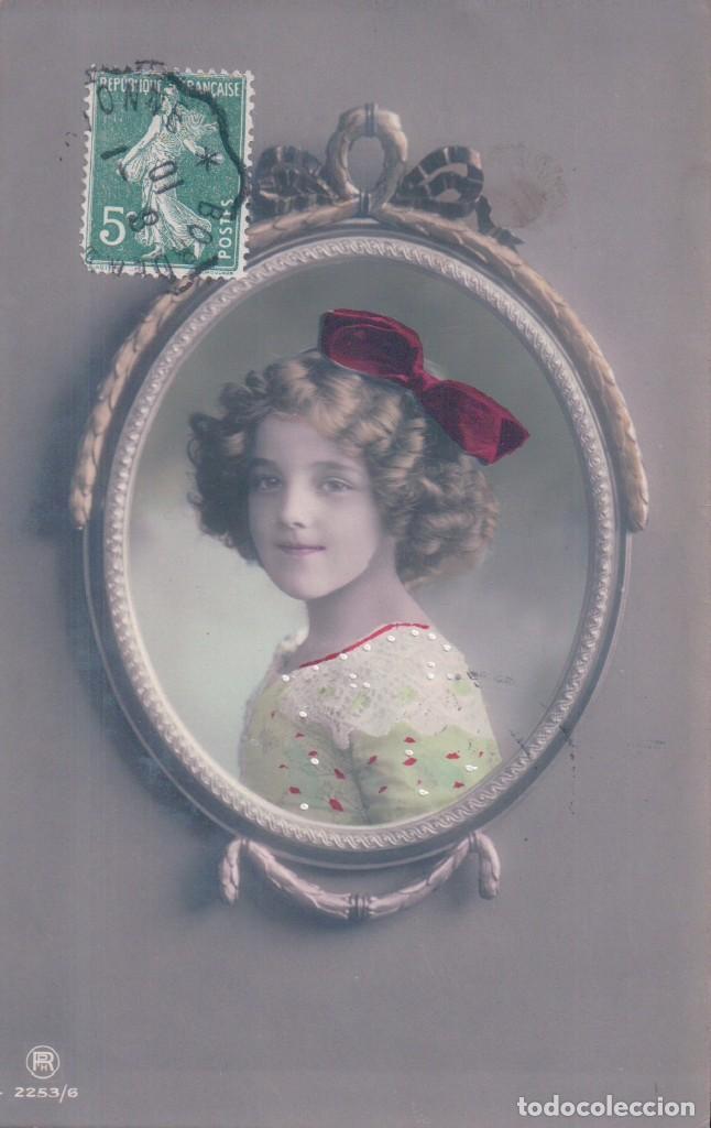 POSTAL NIÑA EN UN ESPEJO - CIRCULADA 1910 (Postales - Postales Temáticas - Niños)