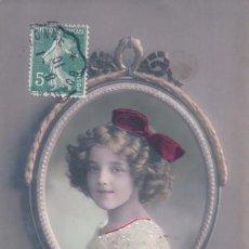 Postales: POSTAL NIÑA EN UN ESPEJO - CIRCULADA 1910. Lote 103616059