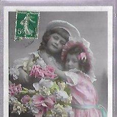 Postales: TARJETA POSTAL DE INFANTIL. NIÑAS POSANDO CON FLORES.. Lote 104023911