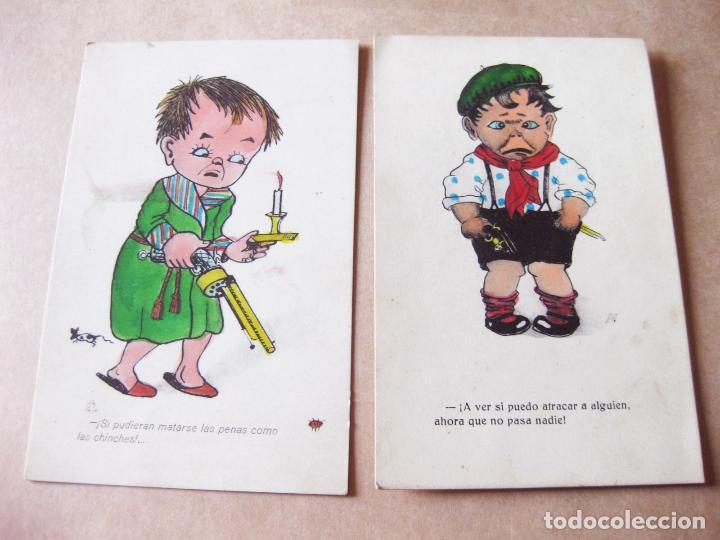 PAREJA DE POSTALES INFANTILES CON DIBUJOS COMICOS (Postales - Postales Temáticas - Niños)