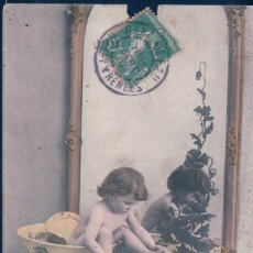 Postales: POSTAL NIÑO DENTRO DE UNA PALANGANA - ESPEJO - CIRCULADA - SERIE 455 - K.V.I.B. 12. Lote 109545783