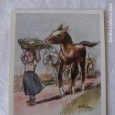 Postales: POSTAL NIÑA/CABALLOS - PINTADA CON LA BOCA POR C. FISCHER - PEQUEÑO GLOTÓN - Nº 2.107 - NO CIRCULADA. Lote 115100035