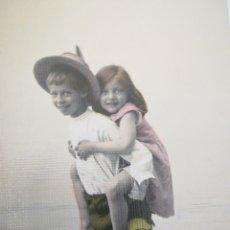 Postales: NIÑO Y NIÑA A CABALLITO. AÑO 1907 JEREZ. VER FOTOS COON TEXTO.. Lote 117550856