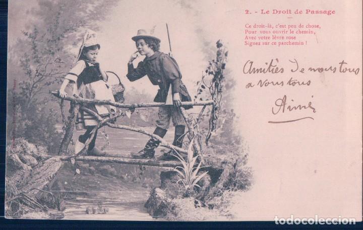 POSTAL 2 DE LA SERIE LE DROIT DE PASSAGE - EL DERECHO DE PASO - FRANCESA - CIRCULADA (Postales - Postales Temáticas - Niños)
