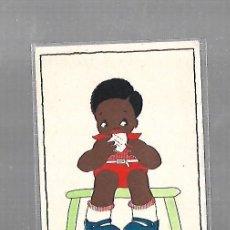 Postales: TARJETA POSTAL INFANTIL. NIÑO NEGRITO COMIENDO SENTADO EN SILLA. Lote 121208311