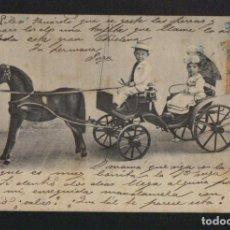 Postales: NIÑOS EN COCHE DE CABALLO DE JUGUETE.POSTÁL CIRCULADA EN 1903.. Lote 124666143