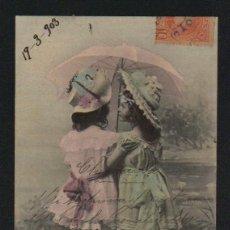 Postales: NIÑAS CON PARAGUAS. POSTÁL CIRCULADA EN 1903.. Lote 124667219