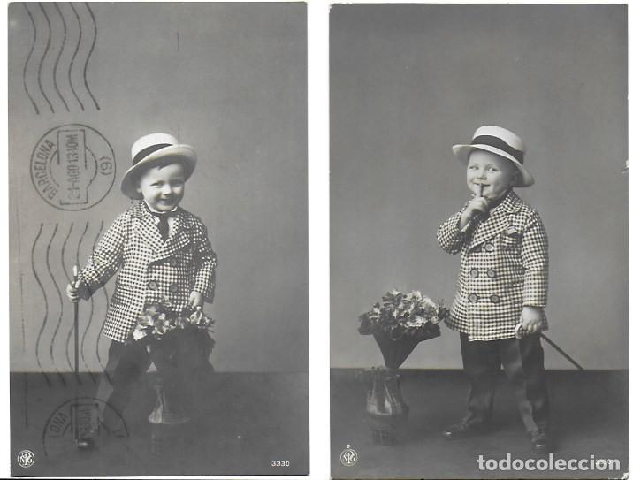 P- 8449. PAREJA DE POSTALES FOTOGRAFICAS, NIÑOS. AÑO 1913. (Postales - Postales Temáticas - Niños)