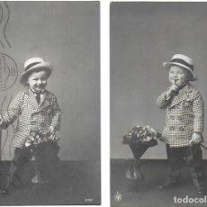 Postales: P- 8449. PAREJA DE POSTALES FOTOGRAFICAS, NIÑOS. AÑO 1913.. Lote 127619659