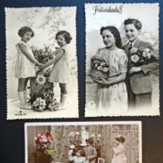 Postales: 3 ANTIGUAS POSTALES DE NIÑOS, ORIGINALES DE EPOCA ( NO SON REPRODUCCIONES). VER FOTOS REVERSO. Lote 136273626