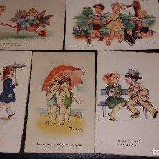 Postales: 1948, 6 ANTIGUAS POSTALES NIÑOS GASTOS ENVIO INCLUIDOS. Lote 141408322
