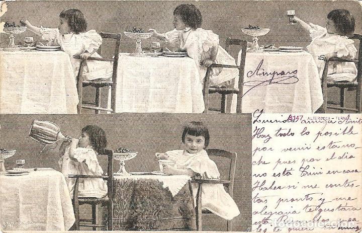POSTAL DE NIÑAS MUY ANTIGUA MANUSCRITA - 3147 ALTEROCCA - TERNI (Postales - Postales Temáticas - Niños)