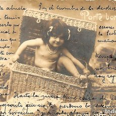 Postales: POSTAL DE NIÑAS MUY ANTIGUA MANUSCRITA - CIRCULADA DE MURCIA A MADRID AÑO 1902. Lote 144351318