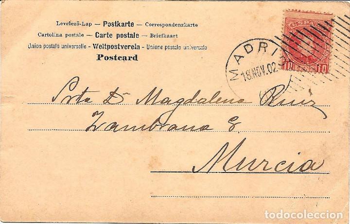 Postales: POSTAL DE NIÑAS MUY ANTIGUA MANUSCRITA - CIRCULADA DE MURCIA A MADRID AÑO 1902 - Foto 2 - 144351318
