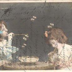 Postales: POSTAL DE NIÑAS MUY ANTIGUA MANUSCRITA Y COLOREADA - CIRCULADA AÑO 1909. Lote 144352478