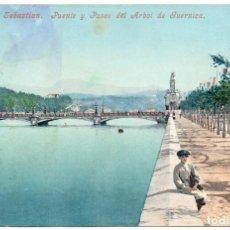 Postales: POSTAL DE SAN SEBASTIÁN GUIPÚZCOA PUENTE Y PASEO DEL ARBOL DE GUERNICA RESELLADA 1907. Lote 146450062