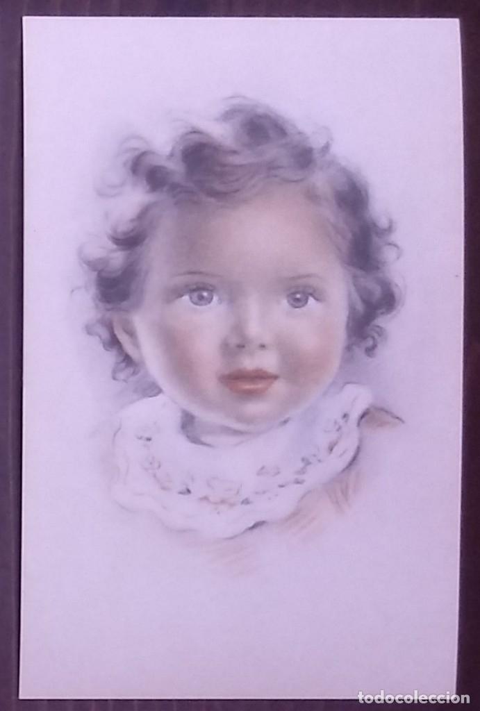 Postal años 50 niña dibujada colores pastel Serie 600 Muy buen estado 14x9 Impresa en España - 146431474