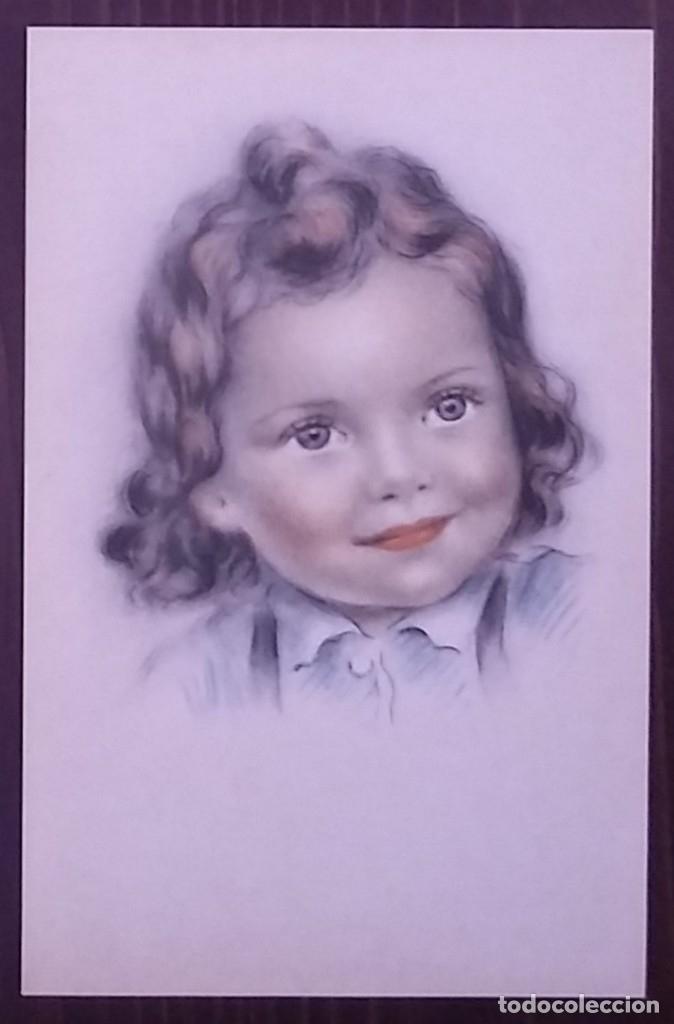 Postal años 50 niña dibujada colores pastel Serie 600 Muy buen estado 14x9 Impresa en España - 146431602