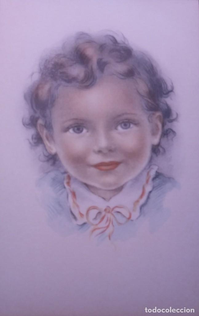 Postales: 8 postales años 50 niñas dibujadas colores pastel Serie 600 Muy buen estado 14x9 Impresas en España - Foto 4 - 146422806