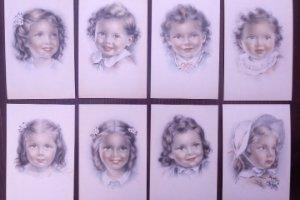 8 postales años 50 niñas dibujadas colores pastel Serie 600 Muy buen estado 14x9 Impresas en España